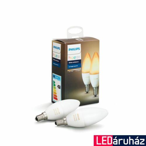 Philips Hue E14 White Ambiance LED dupla csomag, 2200K-6500K, 6W, 470 lm, Bluetooth+Zigbee, 871869669526500