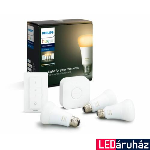 Philips Hue E27 White Ambiance LED kezőkészlet, 3db. fényforrás+Bridge+DimSwitch, 2200K-6500K, 8,5W, 806 lm, Bluetooth+Zigbee, 871869967334500