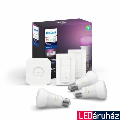 Philips Hue E27 White and Color Ambiance LED kezdőkészlet, RGBW, 3db. fényforrás+Bridge+ 2db. DimSwitch, 9W, 806 lm, Bluetooth+Zigbee, 871869969691700