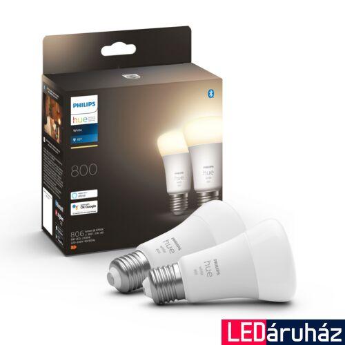 Philips Hue E27 White LED dupla csomag, 2700K melegfehér, 9W, 806 lm, Bluetooth+Zigbee, 8718696785270