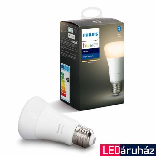 Philips Hue E27 White LED fényforrás, 2700K melegfehér, 9W, 806 lm, Bluetooth+Zigbee, 8718696785317