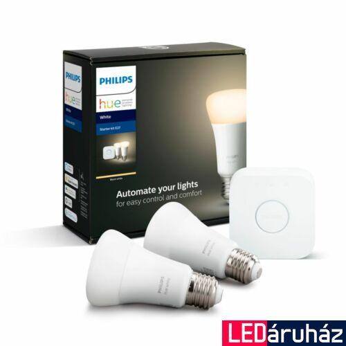 Philips Hue E27 White LED kezdőkészlet, 2db. fényforrás+Bridge, 2700K, 9W, 800 lm, Bluetooth+Zigbee, 871869678521800