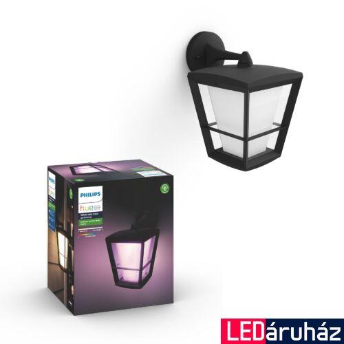 Philips Hue Econic kültéri falra szerelhető LED lámpa, IP44, RGBW, 1150lm, 15W, fekete, White and Color Ambiance, 1744030P7