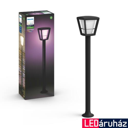 Philips Hue Econic kültéri kandeláber LED lámpa, IP44, RGBW, 2000-6500K, 1150lm, 15W, fekete, White and Color Ambiance, 1744230P7