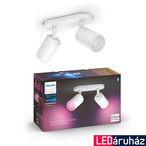 Philips Hue Fugato fehér mennyezeti dupla LED spot, RGBW, GU10 fényforrással, 5063231P7, Bluetooth+Zigbee