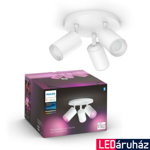 Philips Hue Fugato fehér mennyezeti hármas LED spotlámpa, RGBW, GU10 fényforrással, 5063331P7, Bluetooth+Zigbee