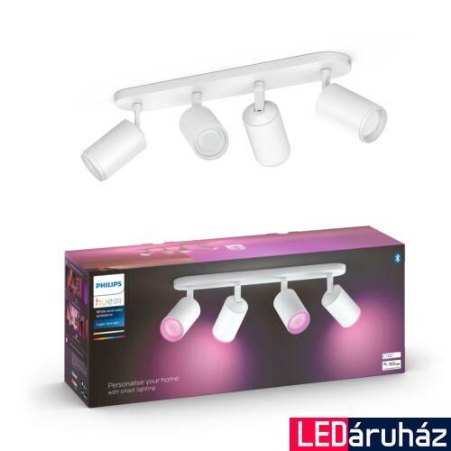 Philips Hue Fugato fehér mennyezeti négyes LED szpotlámpa, RGBW, GU10 fényforrással, 5063431P7, Bluetooth+Zigbee