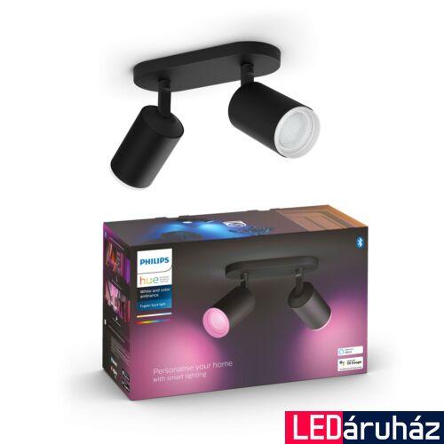 Philips Hue Fugato fekete mennyezeti dupla LED spot, RGBW, GU10 fényforrással, 5063230P7, Bluetooth+Zigbee