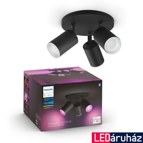 Philips Hue Fugato fekete mennyezeti hármas LED spotlámpa, RGBW, GU10 fényforrással, 5063330P7, Bluetooth+Zigbee