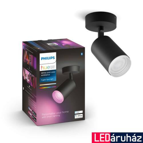 Philips Hue Fugato fekete mennyezeti LED spot, RGBW, GU10 fényforrással, 5063130P7, Bluetooth+Zigbee