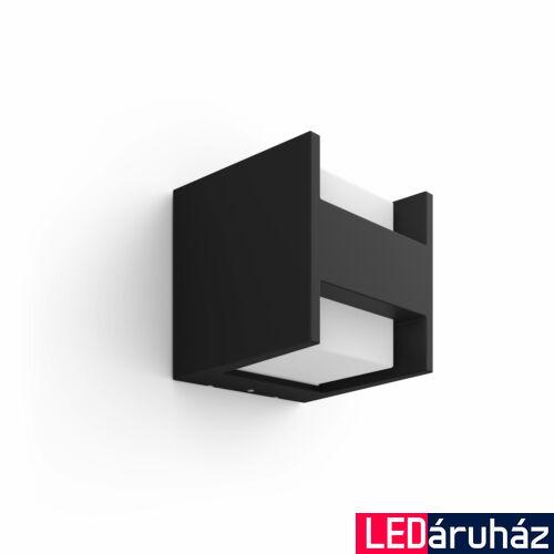 Philips Hue Fuzo kültéri fali LED lámpa, IP44, 2700K melegfehér, 1150lm, 15W, fekete, 1744430P7