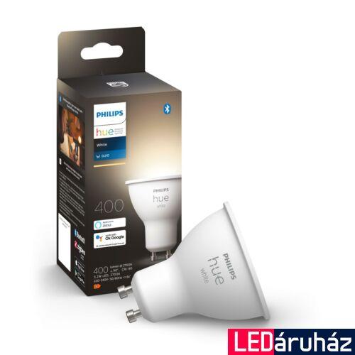 Philips Hue GU10 White 2700K LED fényforrás, 5.7W, 350 lm, Bluetooth+Zigbee, 8718699628697