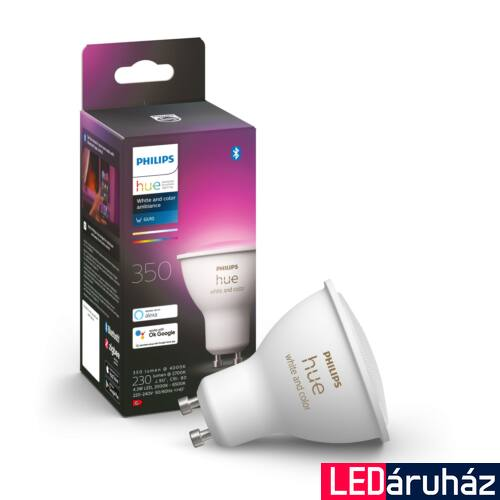 Philips Hue GU10 White and Color RGBW LED, fényforrás, 5.7W, 350 lm, Bluetooth+Zigbee, 8718699628659
