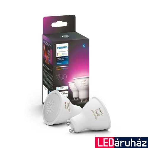 Philips Hue GU10 White and Color RGBW LED dupla csomag, 5.7W, 350 lm, Bluetooth+Zigbee, 8718699629250