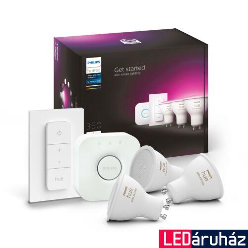 Philips Hue GU10 White and Color RGBW LED kezdőkészlet, 3db. Fényforrás+Bridge, 5.7W, 350 lm, Bluetooth+Zigbee, 8718699629274