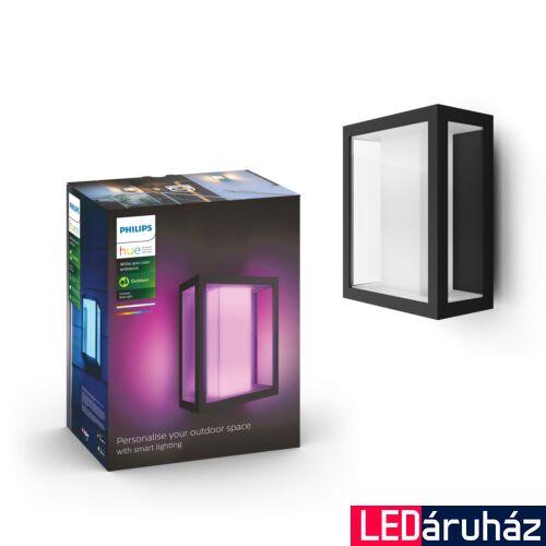 Philips Hue Impress kültéri fali LED lámpa, IP44, RGBW, 1200lm, 8W, fekete, White and Color Ambiance 1743030P7
