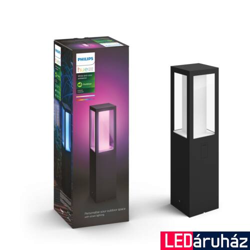 Philips Hue Impress kültéri LED állólámpa, IP44, RGBW, 1200lm, 2x8W, fekete, White and Color Ambiance 1743130P7