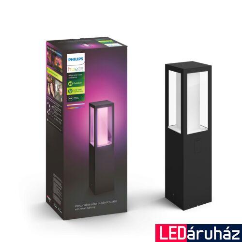 Philips Hue Impress kültéri LED állólámpa, tápegység nélkül, IP44, RGBW, 2x8W, 1200lm, fekete, White and Color Ambiance, 1743430P7