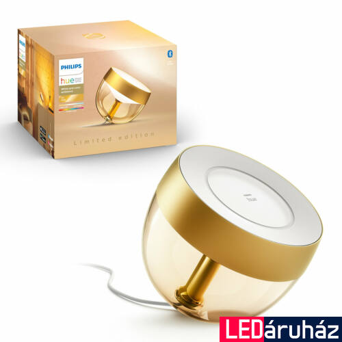 Philips Hue Iris White and Color Ambiance, RGBW asztali LED lámpa, 8W, 570 lm, arany, Bluetooth+Zigbee, 8719514264526