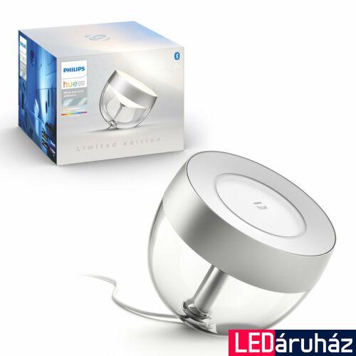 Philips Hue Iris White and Color Ambiance, RGBW asztali LED lámpa, 8W, 570 lm, ezüst, Bluetooth+Zigbee, 8719514264540