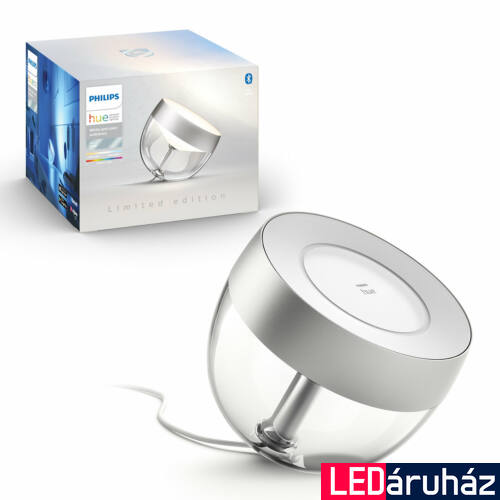Philips Hue Iris White and Color Ambiance, RGBW asztali LED lámpa, 8W, 570 lm, ezüst, Bluetooth+Zigbee, 8719514264540