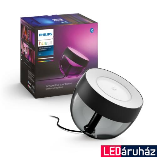 Philips Hue Iris White and Color Ambiance, RGBW asztali LED lámpa, 8W, 570 lm, fekete, Bluetooth+Zigbee, 8719514264489