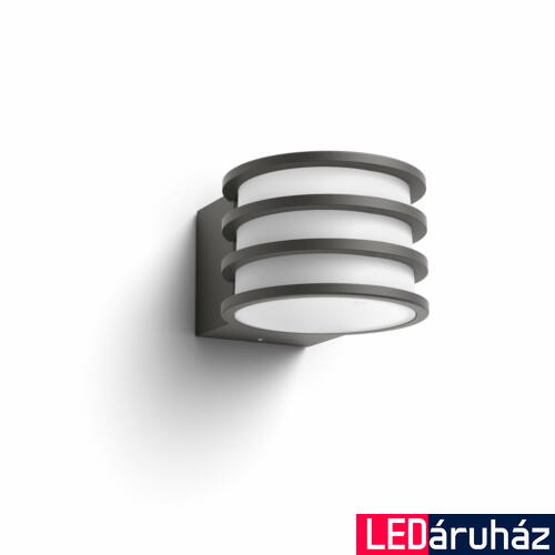 Philips Hue Lucca kültéri fali LED lámpa, antracit, 9.5W, 230V, IP44, 2700K melegfehér fényforrással, 1740193P0