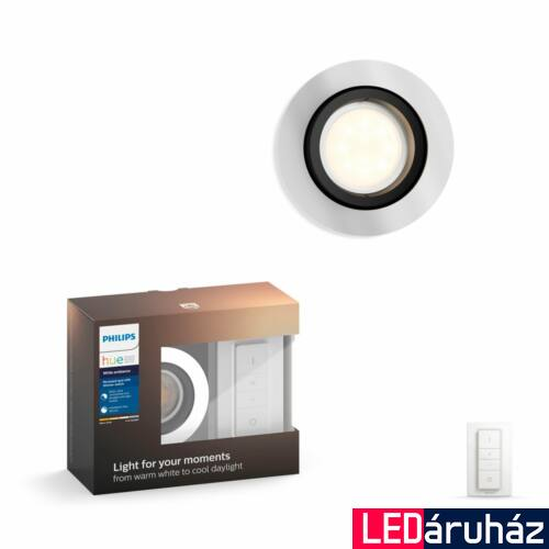 Philips Hue Milliskin süllyeszthető LED spotlámpa, kör, alumínium, 5,5W, 250 lm, 4000K, 2200K-6500K + DimSwitch, 50411/48/P7