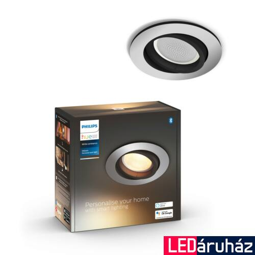 Philips Hue Milliskin süllyeszthető LED spotlámpa, kör, alumínium, 5,5W, 350 lm, White Ambiance, 2200K-6500K, Bluetooth+Zigbee, 5041148P9