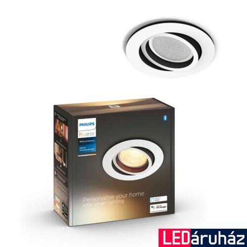 Philips Hue Milliskin süllyeszthető LED spotlámpa, kör, fehér, 5,5W, 350 lm, White Ambiance, 2200K-6500K, Bluetooth+Zigbee, 5041131P9