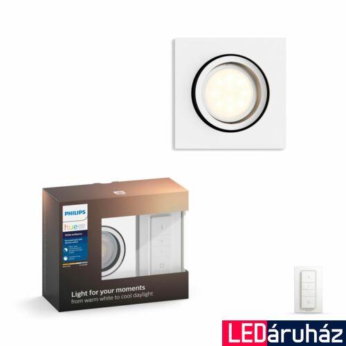 Philips Hue Milliskin süllyeszthető LED spotlámpa, szögletes, fehér, 5,5W, 250 lm, 4000K, 2200K-6500K + DimSwitch, 50421/48/P8