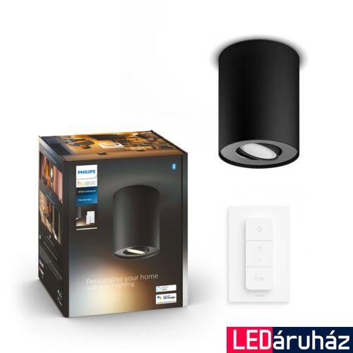 Philips Hue Pillar fekete mennyezeti lámpa GU10 spot, White Ambiance, 2200K-6500K + DimSwitch, Bluetooth+Zigbee, 5633030P6