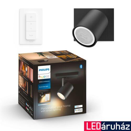 Philips Hue Runner fali fekete LED spot, White Ambiance, 2200K-6500K GU10+DimSwitch, Bluetooth+Zigbee, 5309030P6