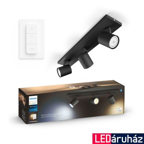 Philips Hue Runner hármas mennyezeti fekete LED spot, White Ambiance, 2200K-6500K 3xGU10+DimSwitch, Bluetooth+Zigbee, 5309330P6