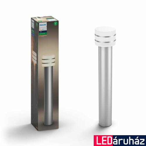 Philips Hue Tuar kültéri LED állólámpa, inox, 9.5W, 230V, IP44, 2700K melegfehér fényforrással, 1740647P0