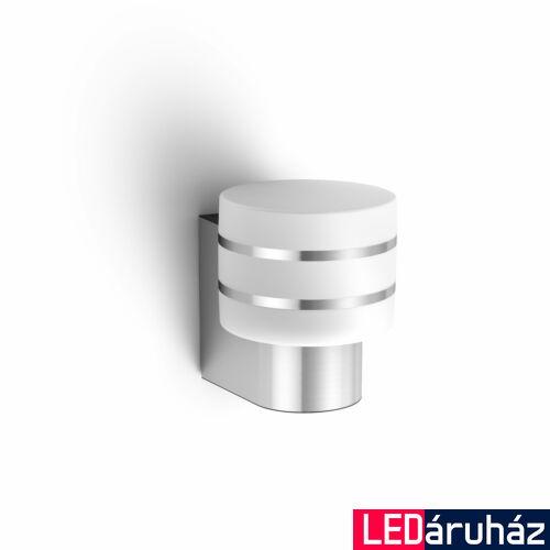Philips Hue Tuar kültéri LED fali lámpa, inox, 1x9.5W, 230V, IP44, 2700 K melegfehér fényforrással, 1740447P0