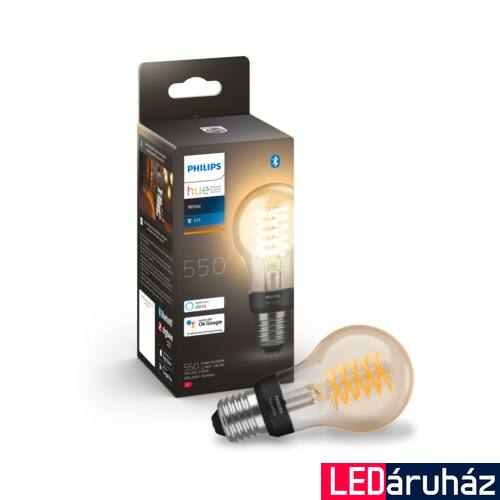 Philips Hue White A60 E27 LED filament vintage fényforrás, 2100K, 7W, 550 lm, Bluetooth+Zigbee, 8718699688820