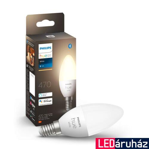 Philips Hue White E14 LED fényforrás, 2700K, 5,5W, 470 lm, Bluetooth+Zigbee, 8718699671211