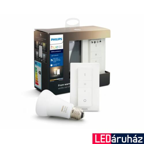 Philips Hue White Ambiance E27 LED + DimSwitch Light Recipe Kit, 2200-6500K, 8,5W, 806 lm, Bluetooth+Zigbee, 8718699673147