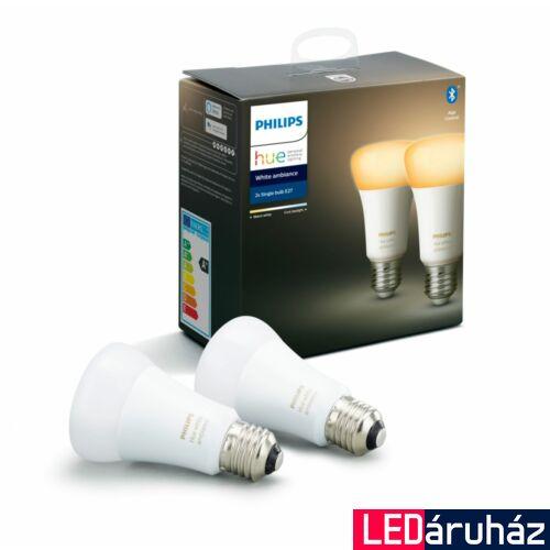 Philips Hue White Ambiance E27 LED dupla csomag, 2200-6500K, 8,5W, 806 lm, Bluetooth+Zigbee, 8718699673369