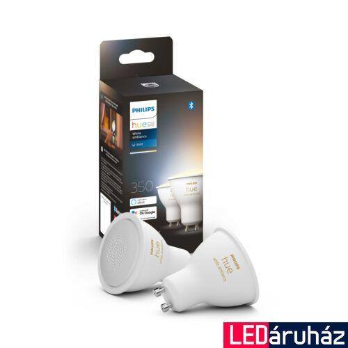 Philips Hue White Ambiance GU10 dupla csomag LED fényforrás, 2700K-6500K 5,2W, 350 lm, Bluetooth+Zigbee, 8718699629298