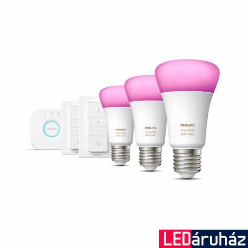 Philips Hue White and Color Ambiance E27 kezdőkészlet, 3xE27 fényforrás + 2xDimSwitch + Bridge, 3x9W, 3x806lm, RGBW, Bluetooth+Zigbee, 8718699696917