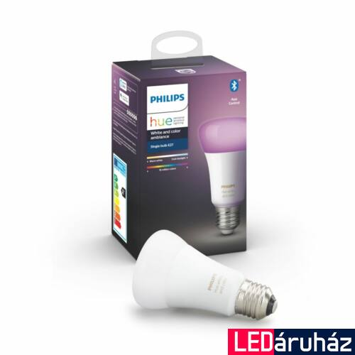Philips Hue White and Color Ambiance E27 LED fényforrás, RGBW, 9W, 806 lm, Bluetooth+Zigbee, 8718699673109