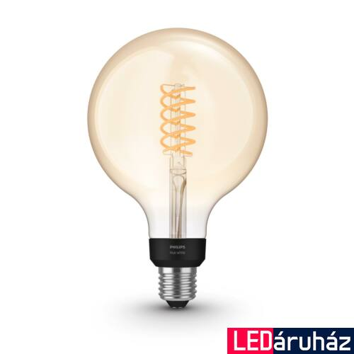 Philips Hue White G125 E27 LED filament vintage fényforrás, nagygömb, 2100K, 7W, 550 lm, Bluetooth+Zigbee, 8719514279131