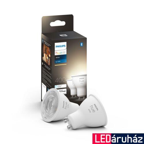 Philips Hue White GU10 dupla csomag LED fényforrás, 2700K, 5,2W, 350 lm, Bluetooth+Zigbee, 8718699629311