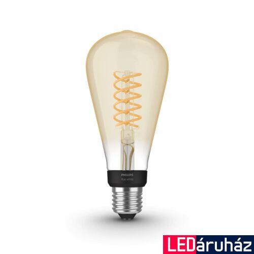 Philips Hue White ST72 E27 LED filament vintage fényforrás, 2100K, 7W, 550 lm, Bluetooth+Zigbee, 8719514279179