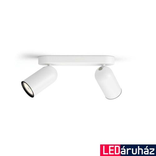 Philips Pongee fehér mennyezeti szpotlámpa, GU10 foglalattal, max. 2x10W, 5058231PN