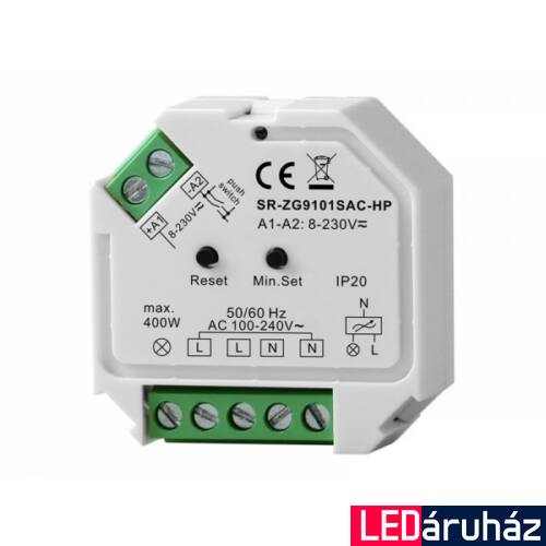 Zigbee 3.0 400W 230V kapcsoló mögé építhető dimmer Philips Hue rendszerhez,  fázishasítás, Apple Homekit, TouchLink