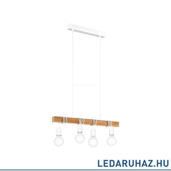 EGLO 33164 TOWNSHEND Függesztett lámpa 4 db. E27 foglalattal, 70 cm hosszú, fa/fehér, max. 4x60W + ajándék LED fényforrás
