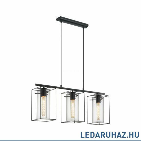 EGLO 49496 LONCINO Vintage hármas függesztett lámpa, fekete/átlátszó, 3 db. E27 foglalattal + ajándék LED fényforrás
